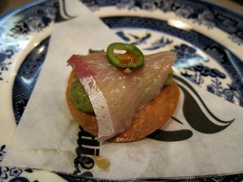 Yellowtail sashimi tostada - avocado shiso