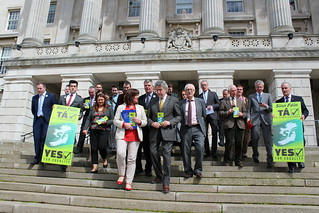 Sinn Féin representatives and members of LGBT groups supporting marriage equality at Stormont.