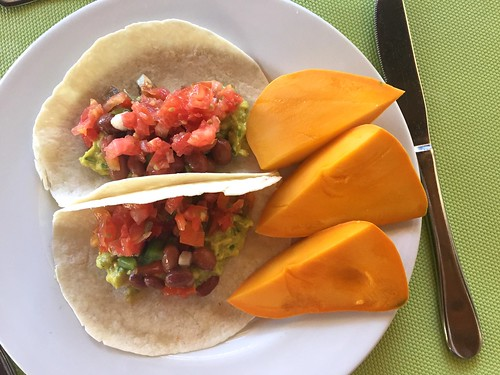 Veggie tacos and fresh mango