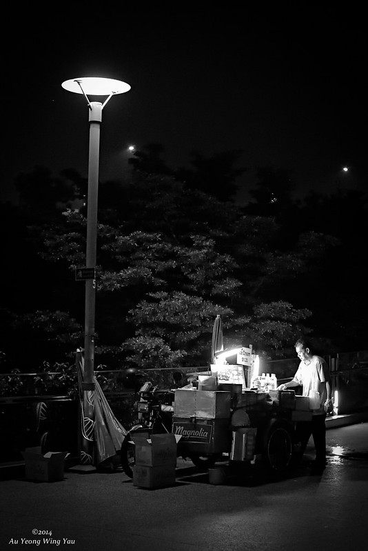 Ice-cream Seller At Night