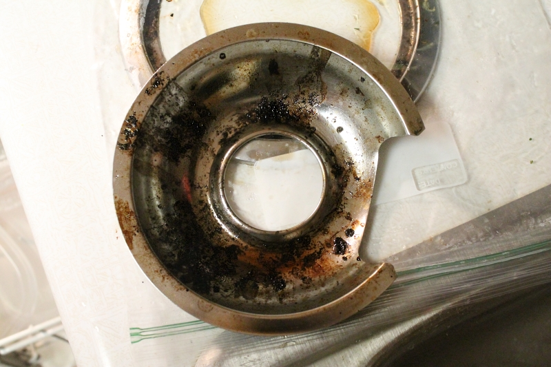 Easily clean drip pans, after soaking