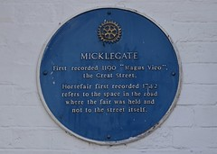 Photo of Micklegate, Pontefract and Micklegate horsefair, Pontefract blue plaque