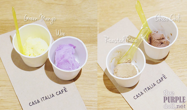 Green Mango, Ube, Roasted Rice, and Choco Chili Gelato