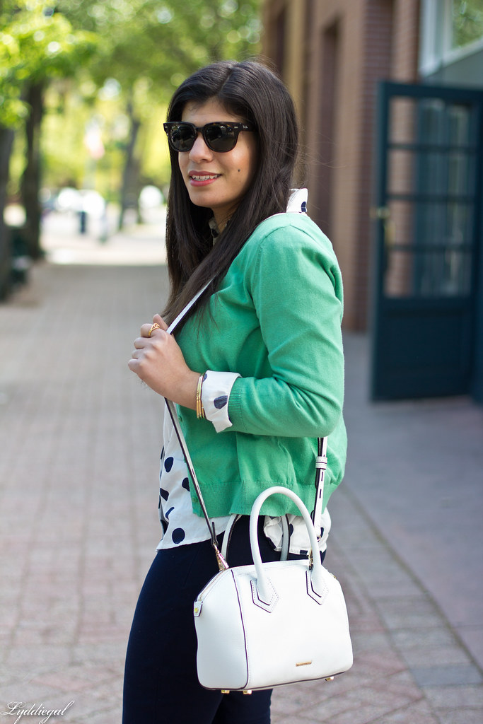 polka dot shirt, green cardigan, navy pants-4.jpg