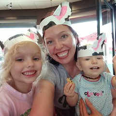 Today is Dress Like A Cow Day at ChickFilA! This morning we made cow headbands and then wore them to ChickFilA for lunch; both girls got free kids meals and I got a free entree! Plus it was fun because tons of moms and kids were dressed like cows, and the