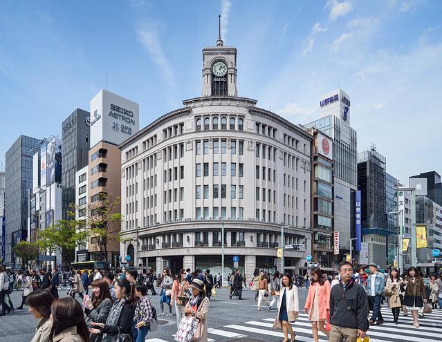 Ginza Wako and Ginza 4 intersection (銀座和光、銀座4丁目交差点)