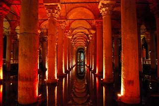 Basilica Cistern underneath Istanbul, Turkey