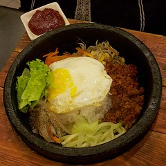 noodle(0.0), meat(0.0), meal(1.0), steamed rice(1.0), rice(1.0), bibimbap(1.0), food(1.0), dish(1.0), cuisine(1.0),