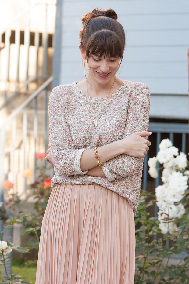 Textured Sweatshirt Pleated Skirt - 4