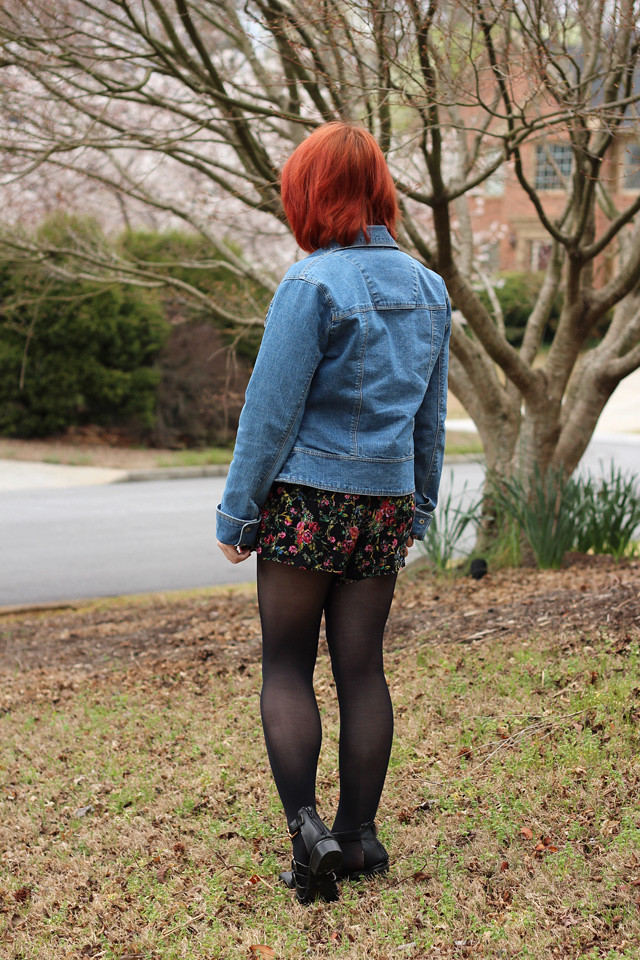 Denim Jacket and Floral Romper Outfit From The Back