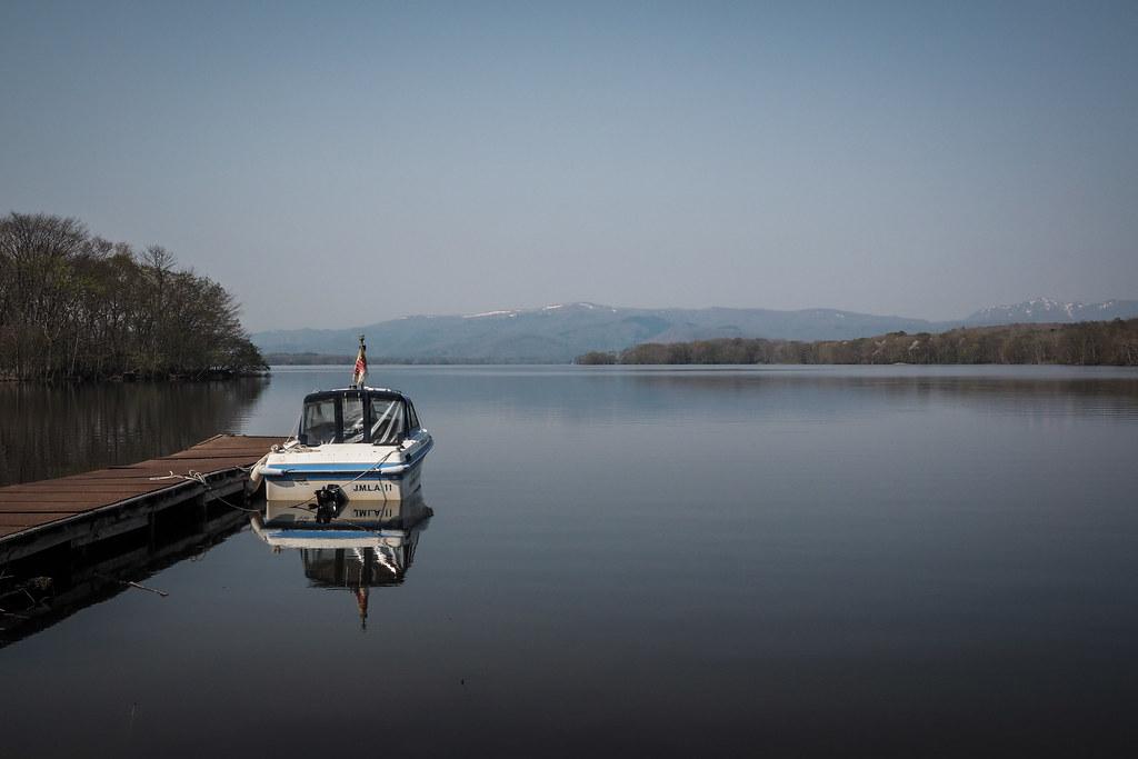 Boat moored on Onuma Lake, Hokkaido, Japan