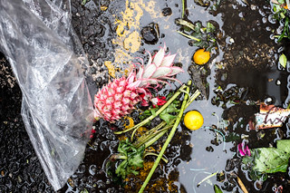 The gutter with some cling film a pink pineapple and two mini-oranges