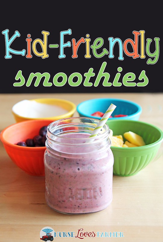 Kid-Friendly Smoothies. So simple to make and so easy to get a healthy meal into your kids. Frozen fruit, yogurt, a splash of orange juice and even some spinach!