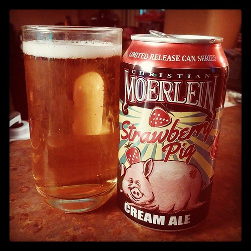 Sitting down with a Christian Moerlein Strawberry Pig Cream Ale...