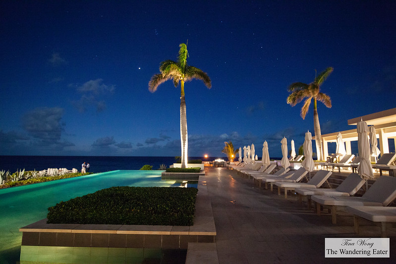 Infinity pool adjacent to the Sunset Lounge just after sunset