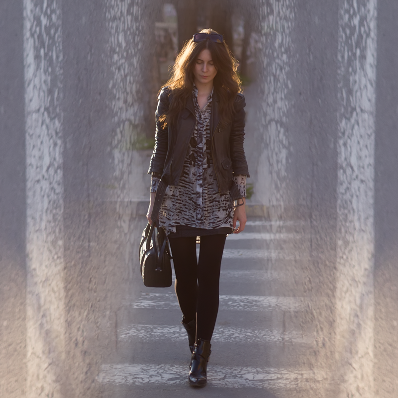 What I Wore Today | Zara Leather Jacket, Religion Shirt, Boohoo Booties