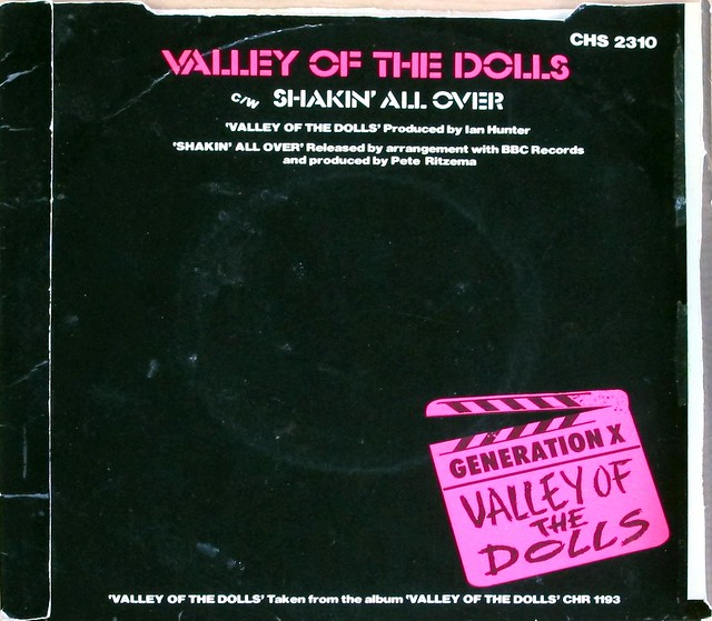 "GENERATION X VALLEY OF THE DOLLS / SHAKIN' ALL OVER COLOURED VINYL BILLY IDOL 7"" 45RPM PS SINGLE VINYL"
