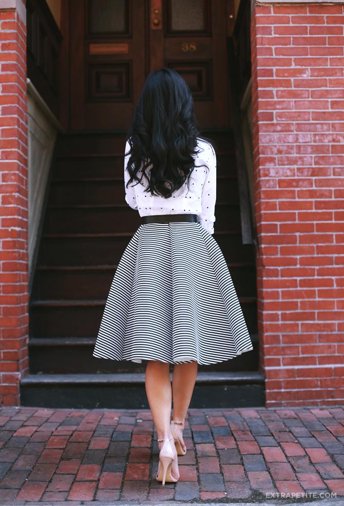 Ann Taylor dot shirt stripe skirt outfit3
