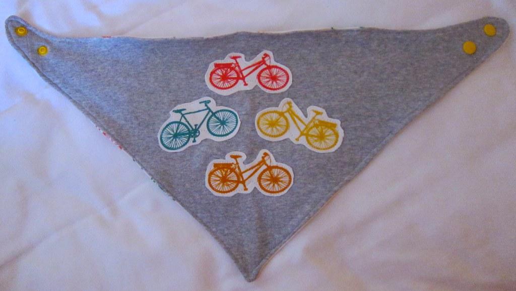 Reversible handkerchief bicycle bib flat view