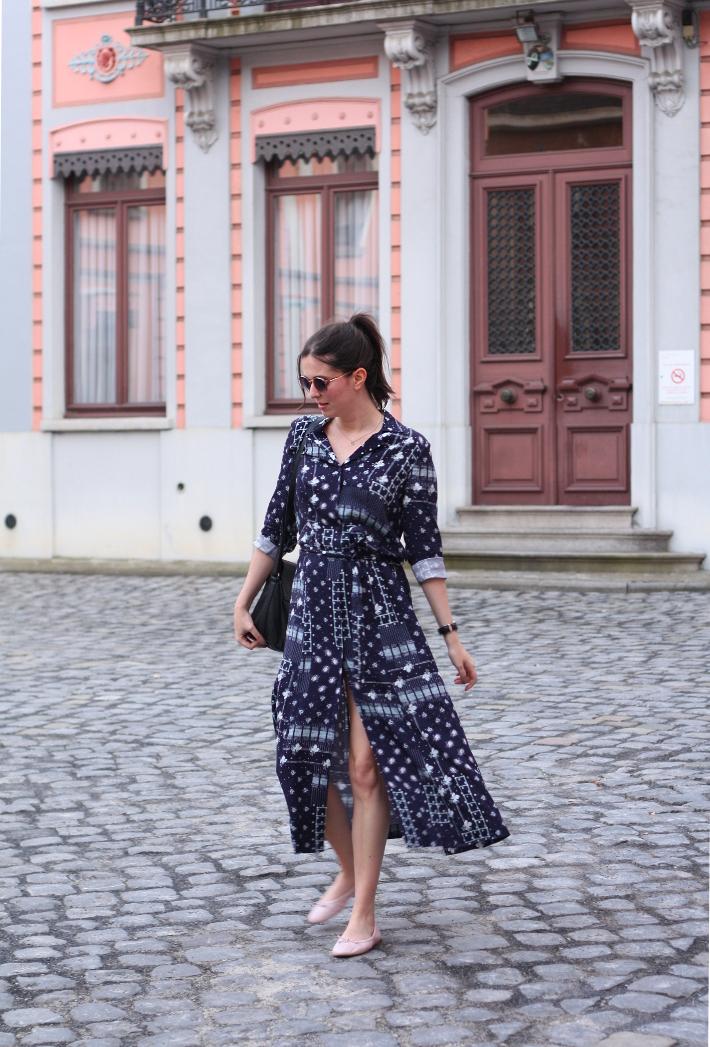 outfit: patchwork print midi dress, Sam Edelman Felicia flats
