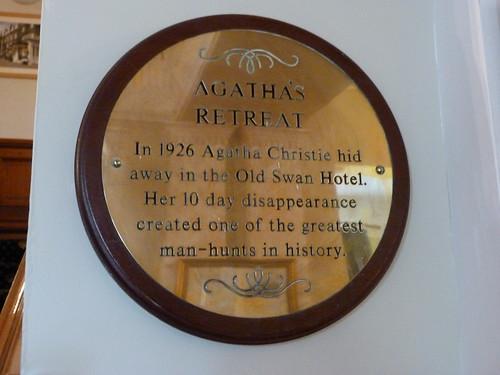 Placa sobre la desaparición de Agatha Christie en The Old Swan Hotel (Harrogate)