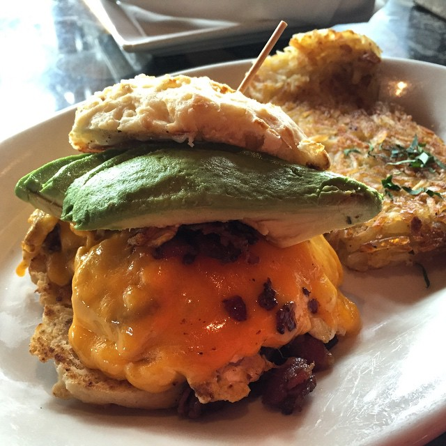 #kvpinmybelly Breakfast egg and bacon biscuit with avocado at Lazy Dog in #SanDiego. NOM