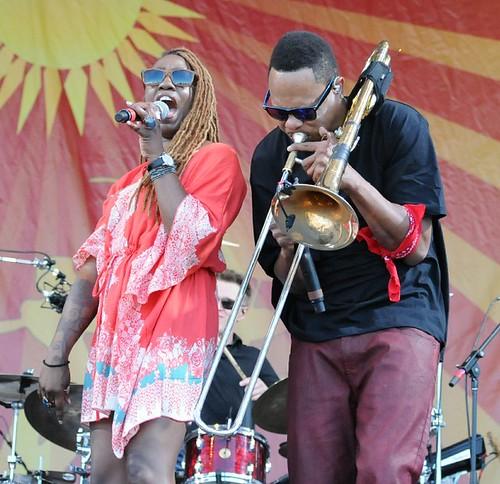 Galactic, Erica Falls & Corey Henry, at Jazz Fest 2016