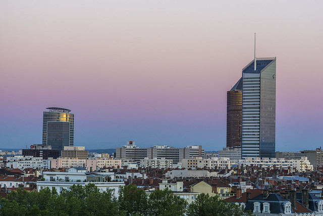 Lyon, sunset over Part-Dieu Skyline