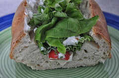 Brie, Tomato, Lettuce In A Home Made Baguette