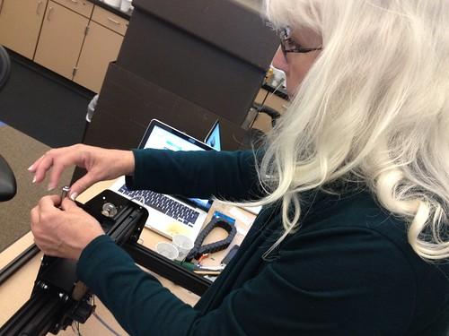 X-Carve Build Day 2 - Jennifer Adjusts the Z-Axis Drive Screw