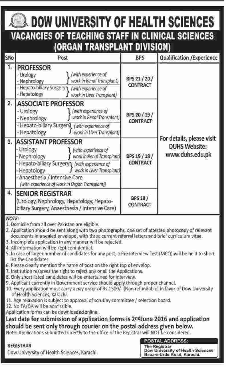 Dow University of Health Sciences Faculty Required