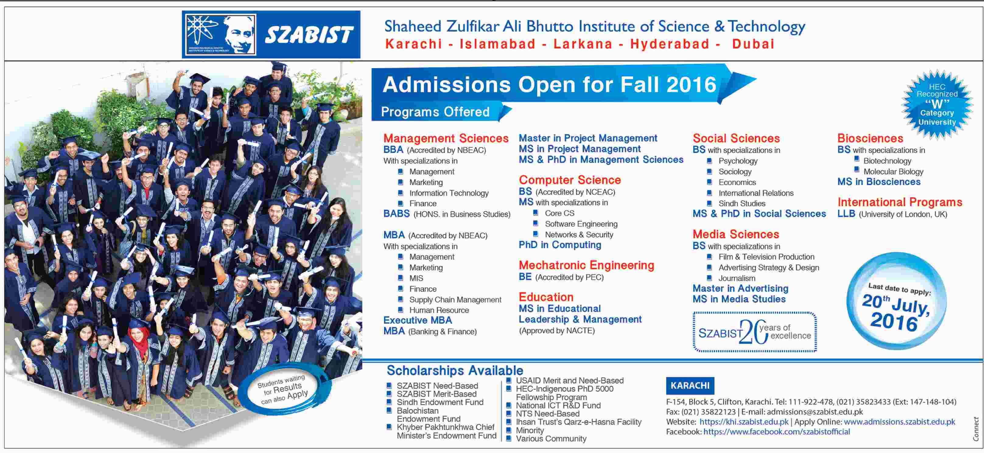 Shaheed Zulfikar Ali Bhutto Institute of Science and Technology Admissions