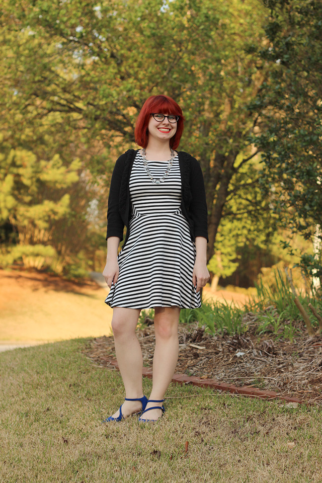 Striped A-line Dress with a Black Cardigan and Cobalt Blue Flats
