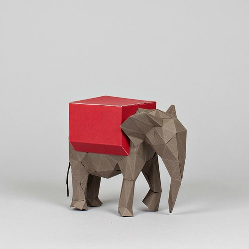 Paper Sculpture Indian Elephant by Julianna Szabo