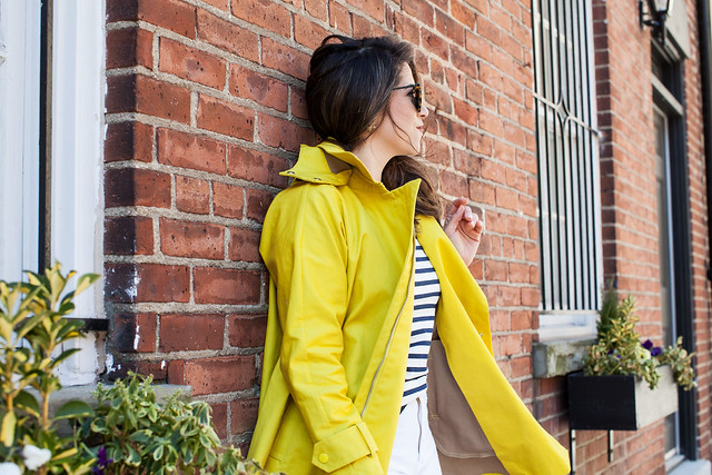 jcrew yellow raincoat white hudson jeans denim piperlime demin zara heels strappy nude heels striped shirt jcrew shirt stripes backpack style how to wear a backpack spring style karen walker sunglasses casual outfit to wear in spring or summer corporate catwalk professional blogger