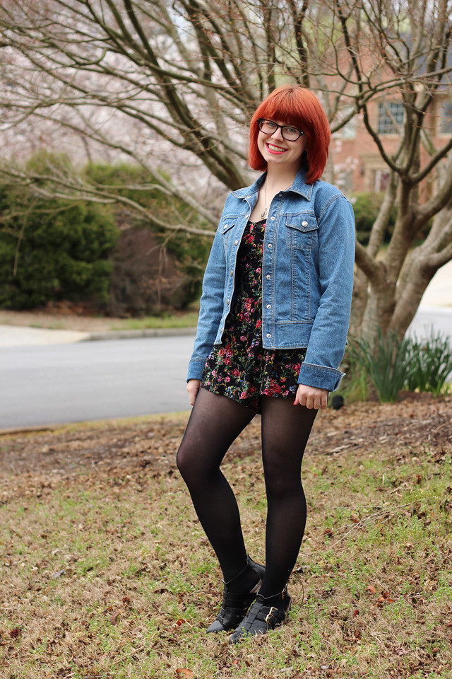 Floral Print Romper, Black Tights, Jean Jacket, and Cutout Boots