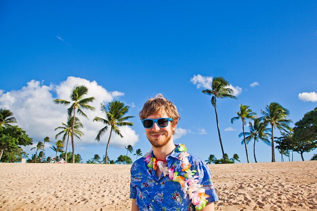 Hawaiian shirt and lei at the Ko Olina Beach Park on Oahu, Hawaii