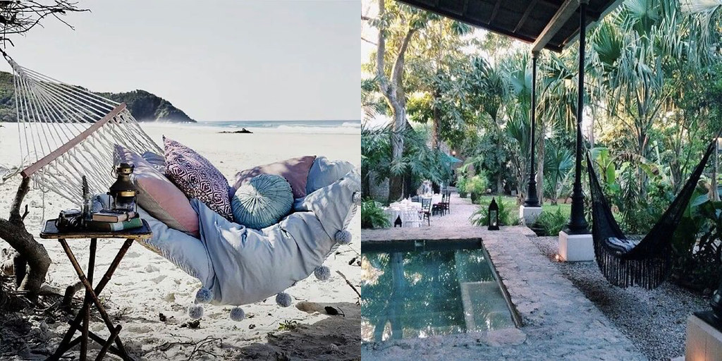 beautiful hammocks in the tropics