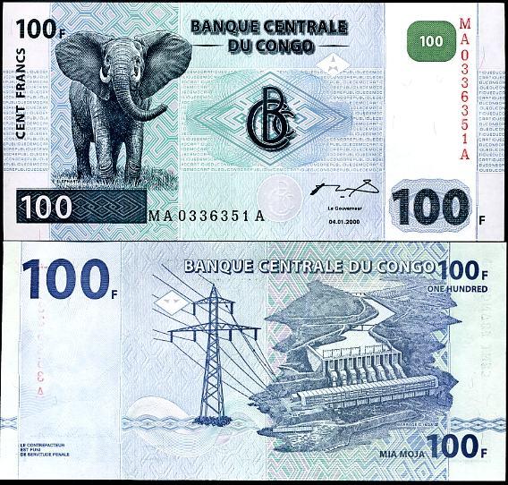 100 Frankov Kongo Dem.Rep. 2000