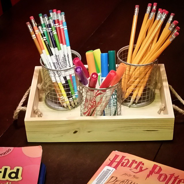It only took 5 years to do it, but we finally have a homework caddy! I was so sick of searching for sharpened pencils and art supplies. Really hoping that this makes life just a bit easier. Thank you, Target Dollar Spot! Grand total? $6! #organization