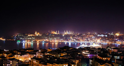 Mosques at night, Istanbul, Turkey