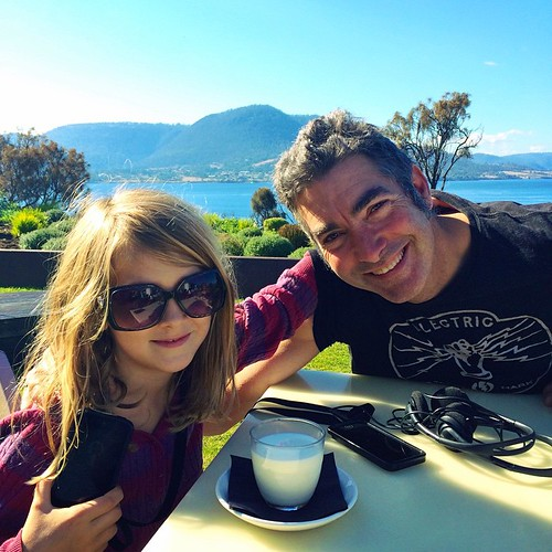 119/365 • how to make your seven-year-old look like a teen queen - let her borrow your sunglasses. Zoe and #M snacking at #MONA • #119_2015 #7yo #view #tasmania2015 #mybirthdayjourney #sunglasses #autumn2015