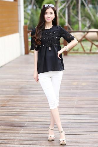 2015 Summer Fashion Womens Elegant Elbow Sleeve Tee Crochet Tunic Chiffon Top Plus Size 20