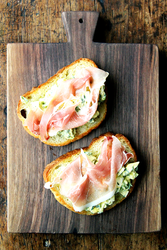 pickled egg salad toasts with prosciutto