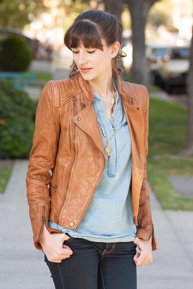 Cognac Leather Jacket, Double Denim