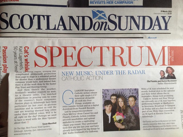 Olaf Furniss and Derick Mackinnon Scotland On Sunday, Spectrum Magazine 29 March 2015, Catholic Action