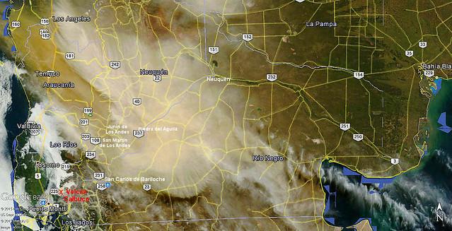 Cenizas del Calbuco sobre Argentina