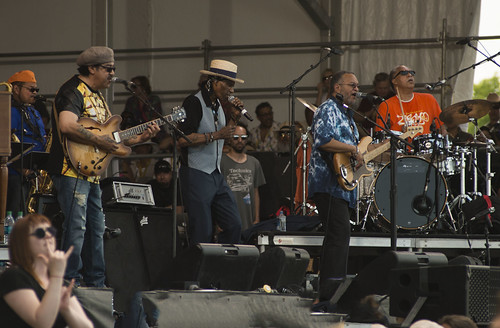 The Meters with Cyril Neville on the Acura Stage. Photo by Charlie Steiner.