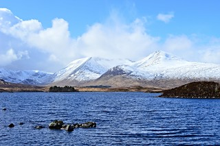 Rannoch Moor (View of Lochan na h-Achlaise with Stob Ghabhar & Clach Leathad beyond,from the A82)
