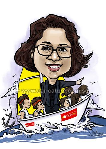 Jessica sailing digital caricature for PropertyGuru (watermarked)